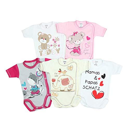 TupTam Unisex Baby Kurzarm Wickelbody mit Spruch 5er Pack, Farbe: Mädchen, Größe: 74