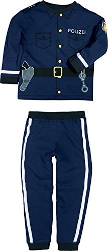 Erwin Müller Kinder Schlafanzug, Pyjama Jungen, Druckmotiv Polizei, Interlock-Jersey, Größe 110/116-100%...