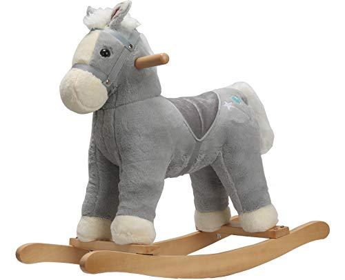 ROCK MY BABY Plüsch Schaukeltier Pferd, Schaukelpferd Holz, für Kinder ab 18 Monate