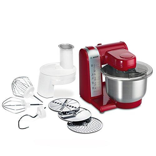 Bosch MUM4 MUM48R1 Küchenmaschine (600 W, 3 Rührwerkzeuge aus Edelstahl, spülmaschinengeignet,...