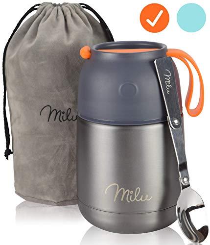 Milu® Thermobehälter 450 & 650ml | Edelstahl Warmhaltebehälter | Essensbehälter | Speisegefäß...