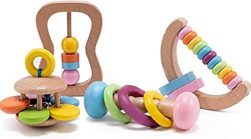 Let's Make 4pc Bio-Kleinkind Holzspielzeug Holz Montessori Baby Rassel Intellektuelle Kleinkind Greifspielzeug...