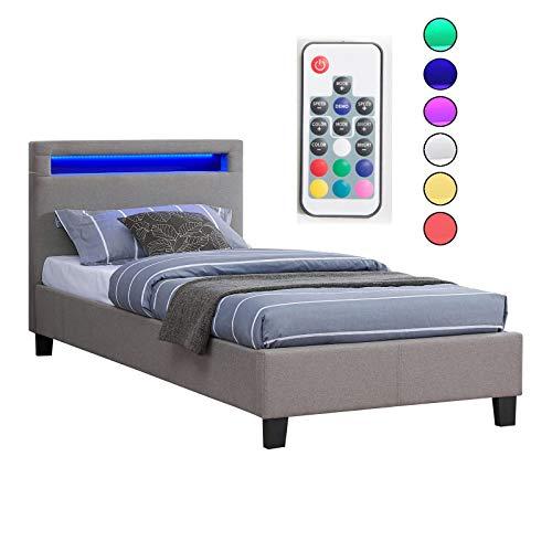 CARO-Möbel Polsterbett Himalaya mit LED Beleuchtung Einzelbett Jugendbett 90 x 200 cm mit Lattenrahmen, in...