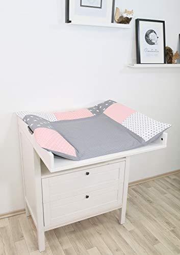 ULLENBOOM ® Wickelauflagenbezug 75x85 cm Rosa Grau (Made in EU) - Bezug für Wickelauflage, Baby Überzug...