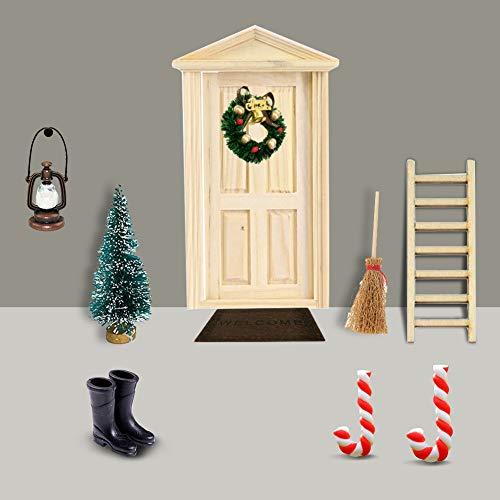 Gcroet Miniatur Puppenhaus-Wichteltür Weihnachten Set Miniatur Wichtel Set Wichtel Tür Nissedor mit Zubehör...
