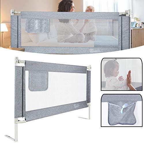 UISEBRT Kinder Bettgitter Bettschutzgitter 200cm - Höhenverstellbar Kinderbettgitter für Familienbett und...