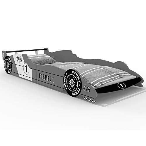 Deuba Kinderbett Autobett Bett 200x90cm mit Lattenrost und Rausfallschutz MDF Holz Rennbett Kindermöbel...