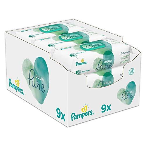 Pampers Aqua Pure Baby Feuchttücher, 432 Tücher (9 x 48) Mit 99% Purem Wasser, Dermatologisch Getestet, Baby...