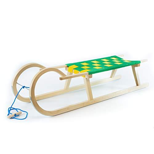 Holzfee Hörnerschlitten 120 cm mit Leine Schlitten Holz Kinderschlitten Gurtsitz Grün Gelb