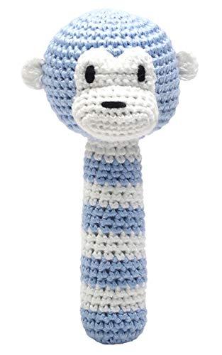 Handmade Baby Rassel gehäkelt Affe hellblau