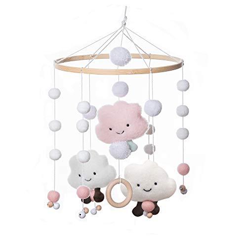 Mamimami Home 1pc Baby Windspiele Babybett Windspiele Wolken Spielzeug Holzring Beißring Mobile Baby Mädchen...