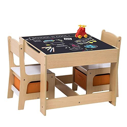 WOLTU 3tlg. Kindersitzgruppe Kindertisch mit 2 Stühle Sitzgruppe mit Stauraum für Kinder Vorschüler...