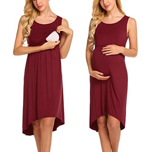 Unibelle Damen Umstandskleid Umstandskleid mit Stillfunktion Elegantes Und bequemes Nachthemd Stillkleid...