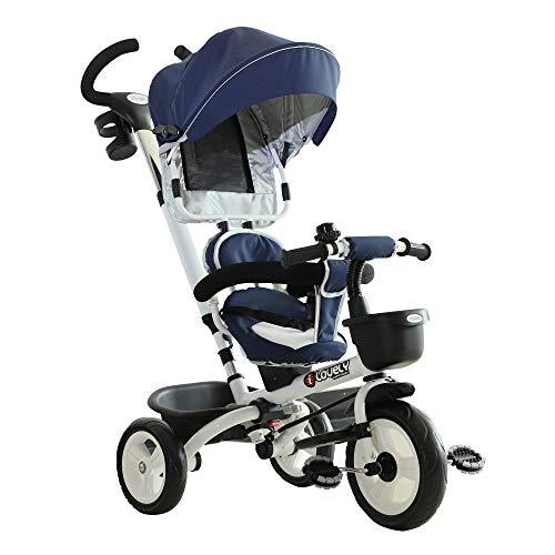 HOMCOM 4-in-1 Kinderdreirad, Kinder Fahrrad mit Sicherheitsgurt und Sonnendach, Dreirad, Kinderauto,...