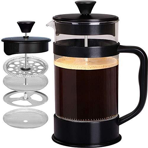 [1 Liter/ 1000 ml] 8 cups Kaffeebereiter mit Edelstahl Filter - French Press Kaffeemaschine - Französische...