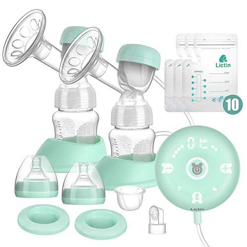 Lictin Elektrische Milchpumpe Smart Silikon Wiederaufladbare Brustpumpe Doppel Muttermilch Abpumpen mit...