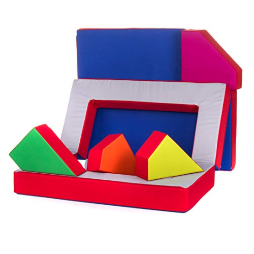 Kindersofa Schaumstoff Spielsofa mit Bettfunktion 4in1 Matratze Spieltisch Puzzle, Sofa Spielzeug (Rot)