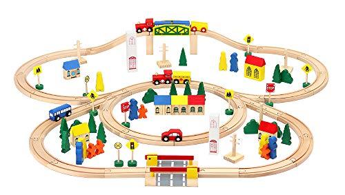 MALATEC Holzeisenbahn Set Schienensortiment Zug Auto Zeichen Bäume Brücke 50 /100 TLG. 6862, Menge:100