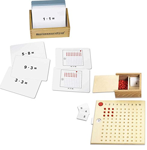 Multiplikationsbrett nach Montessori mit Arbeitskartei