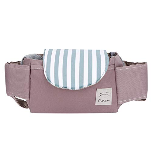 Labuduo Kinderwagen-Organizer-Tasche, praktischer Kinderwagen-Organizer, leicht für Kinderwagen(Mint Stripes)