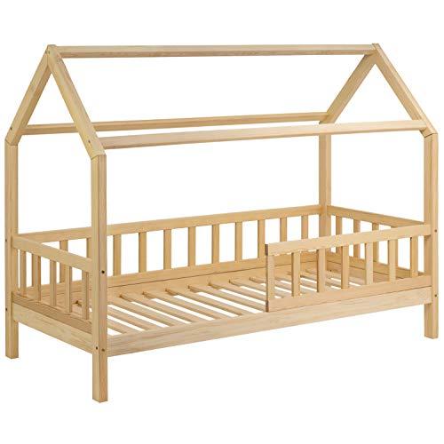 Riverbank Kinderbett 90x200 mit Rausfallschutz - Kinder Hausbett aus Kiefer Holz mit Rollrost | Stabiles Haus...