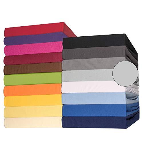 CelinaTex Lucina Spannbettlaken Doppelpack 90x200-100x200 cm Silber grau Baumwolle Spannbetttuch Jersey...
