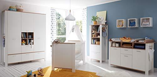Babyzimmer Adele in Weiß- Asteiche von Mäusbacher 7 teiliges Megaset mit Schrank, Bett mit Lattenrost und...