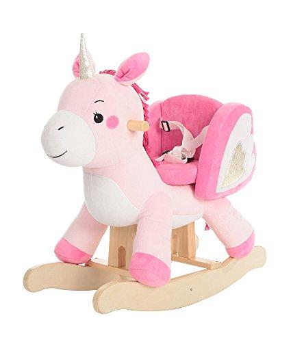 labebe Baby Schaukelpferd Holz, Schaukelpferd Plüsch, Spielzeug Schaukelpferd Rosa Einhorn für Baby 1-12...