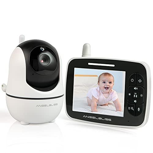 Angelbliss babyphone mit Kamera, LCD digitales Audio Babyphone, Nachtsichtkamera und Temperaturüberwachung,...