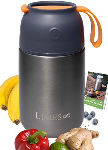 Limes 8 Thermobehälter für Essen 700ml Lunchbox Edelstahl | auslaufsicherer Thermo-Becher | Flaschenwärmer...