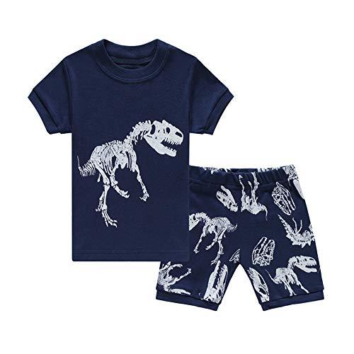 HIKIDS Jungen Schlafanzug Dinosaurier Kurz Zweiteiliger Schlafanzug Kinder Sommer Bekleidung Nachtwäsche Dino...