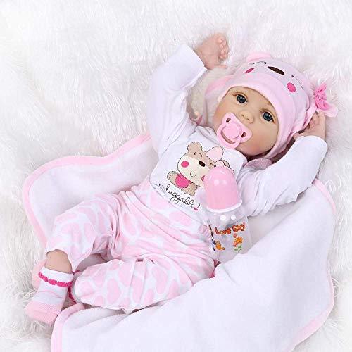 ZIYIUI Lebensecht Reborn Baby Doll Puppen Silikon Mädchen WiederGeboren Babypuppen Rosa Bär Outfit Toddler...