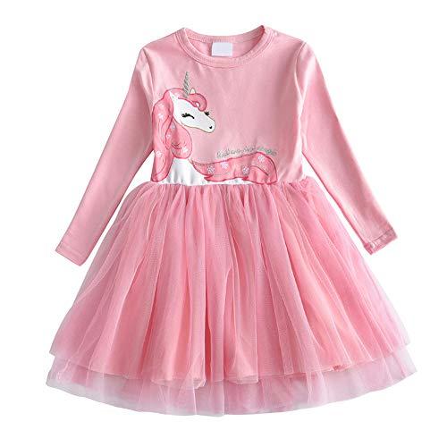 DXTON Kinder Mädchen Kleider Tüll Kleid Prinzessin Einhorn Kleid Langarm Kleidung Frühling Sommer LH4570 3T