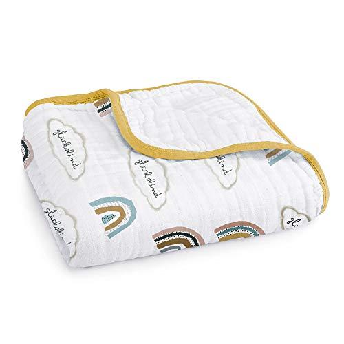 Mama Poppins | Babydecke Kuscheldecke mit süßem Schriftzug'Glückskind' aus 100% Musselin Bio-Baumwolle....