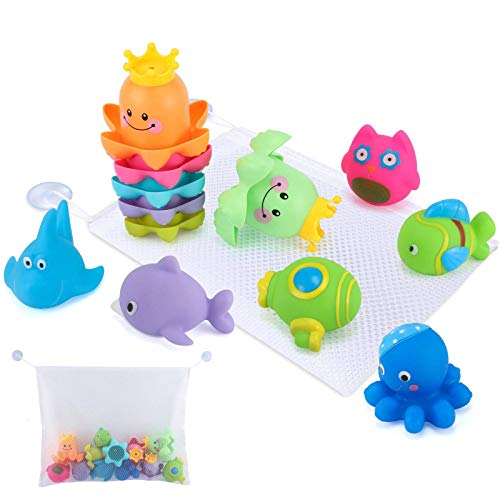 Glonova Bad Spielzeug mit Organizer, 13 Stück Wasserspielzeug für Kinder Stapelbechern und...