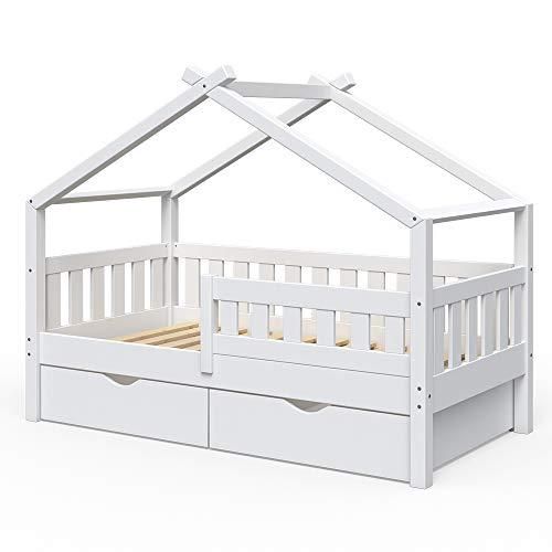VitaliSpa Design Kinderbett 160x80 Babybett Jugendbett 2 Schubladen Lattenrost (Weiß)