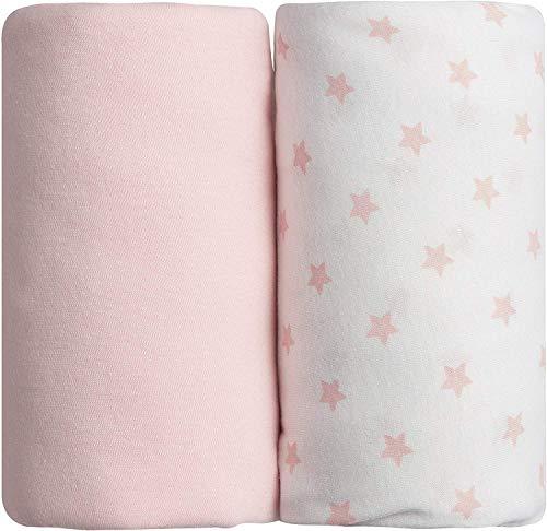 Babycalin Spannbettlaken, 60 x 120 cm, Rosa, mit Sternen, 2 Stück, Mehrfarbig
