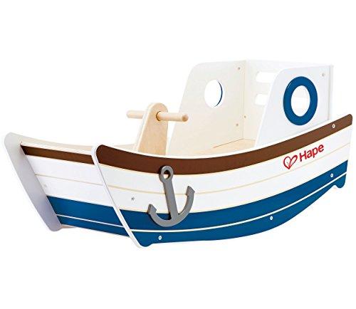 Hape E0102 Rocking Boat Toy (Multi-Colour) Wellenschaukler, Holzspielzeug, Schaukel für Kinder