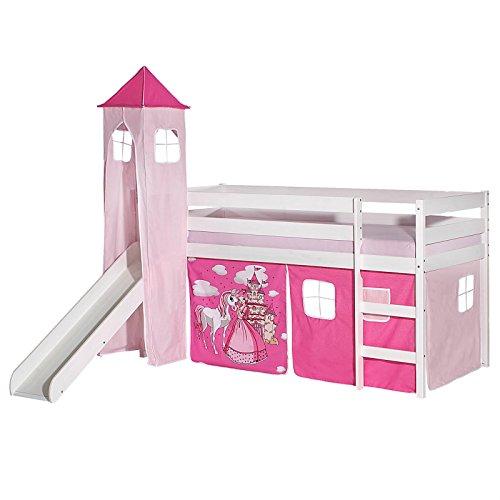 IDIMEX Rutschbett Benny Hochbett Kinderbett Spielbett Holzbett mit Rutsche, Vorhang und Turm Prinzessin Motiv...