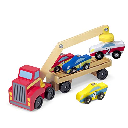 Melissa & Doug Magnetischer Autoverladekran aus Holz mit Fahrzeugen (6 Teile)
