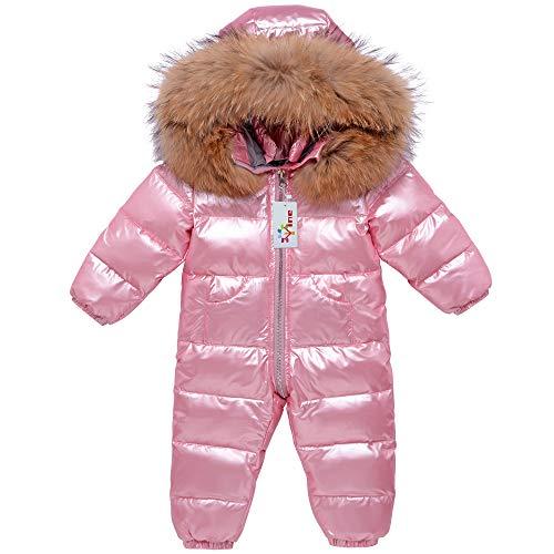 Baby Schneeanzüge Winter Overall Mit Kapuze Daunen-Skianzug Strampler Mädchen Winter Outfits, Rosa 9-12...