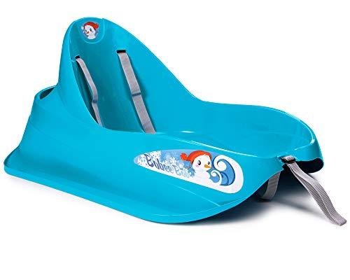 Ondis24 Schlitten Bob für Kleinkinder blau Rodel mit Sicherheitsgurt Rutscher mit Zuggurt und Staufach, für...