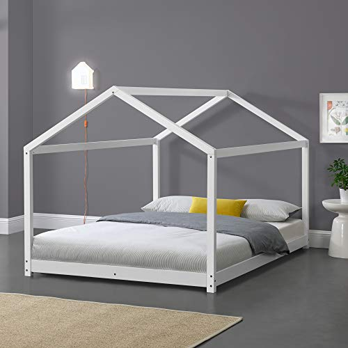 Kinderbett 140x200cm Hausbett Bettenhaus Spielbett Kiefernholz Weiß