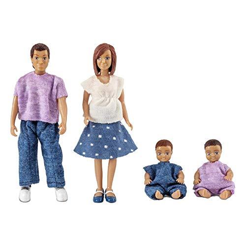 Lundby 60-806300 - Puppen für Puppenhaus - Zubehör - 4-köpfige Familie - Eltern - Kinder - Babys -...