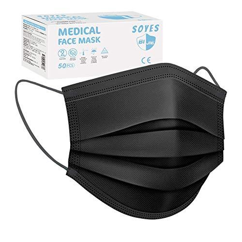 SOYES Einwegmasken, TYP IIR 3-lagig Mund Nasen Gesichtsmaske CE Zertifiziert, Atemschutz Maske Universaldesign...