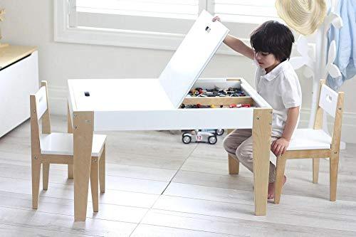 Beboonz 3tlg. Kindersitzgruppe Kindertisch mit 2 Stühle Sitzgruppe mit Stauraum für Kinder Vorschüler...