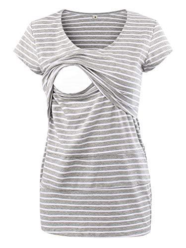 Love2Mi Frauen Umstandsmode Layered Unregelmäßige Pflege Shirt Stillshirt Kurzarm Zum Stillen (L, Graue...
