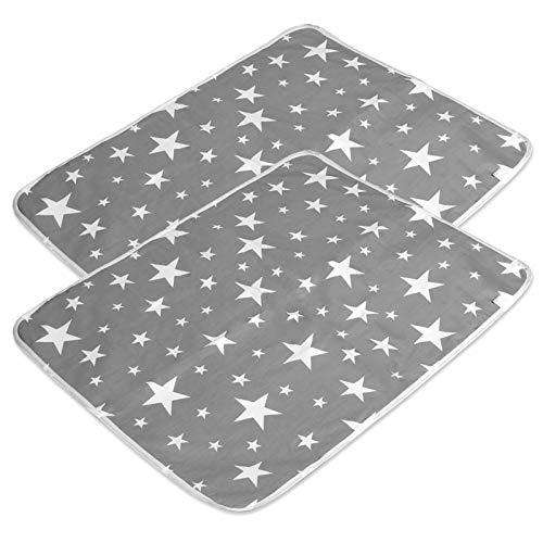 2 Stücke Wasserdicht Wickelunterlage Waschbar für Babys und Kleinkinder (L - 60 x 75 cm) - Atmungsaktiv,...