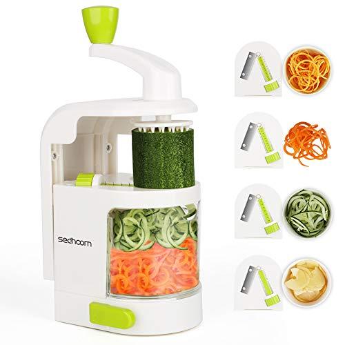 Sedhoom Gemüse Spiralschneider Mit 4 Klingen Für 4 Spiralsergebnisse Obst Und Gemüsespaghetti Zucchini...