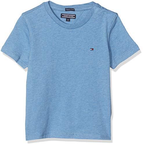 Tommy Hilfiger Jungen Boys Basic Cn Knit S/S T-Shirt, Blau (Dark Allure Heather 408), 98 (Herstellergröße:...